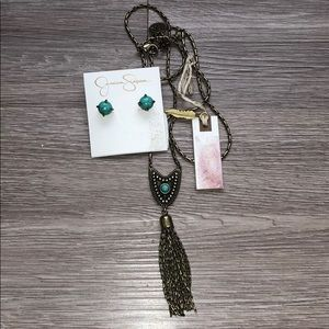 Jessica Simpson Turquoise Earrings & Necklace Set
